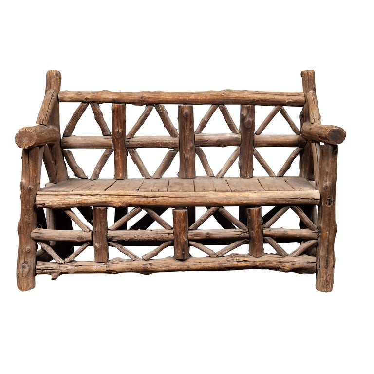 American 1930s Rustic Bench Made of Logs and Slatted Rectangular Seat For Sale