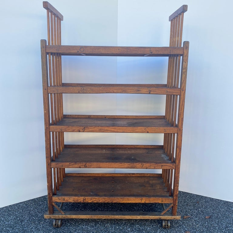 American 1930s Wooden Bread Rack Or Cart For Sale 7