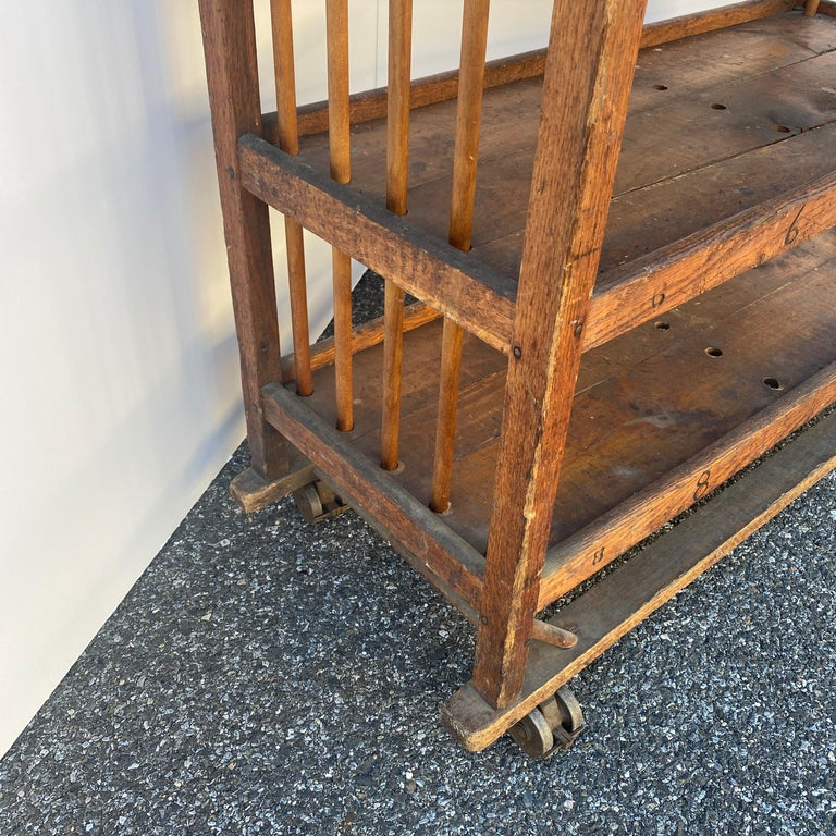 American 1930s Wooden Bread Rack Or Cart For Sale 8