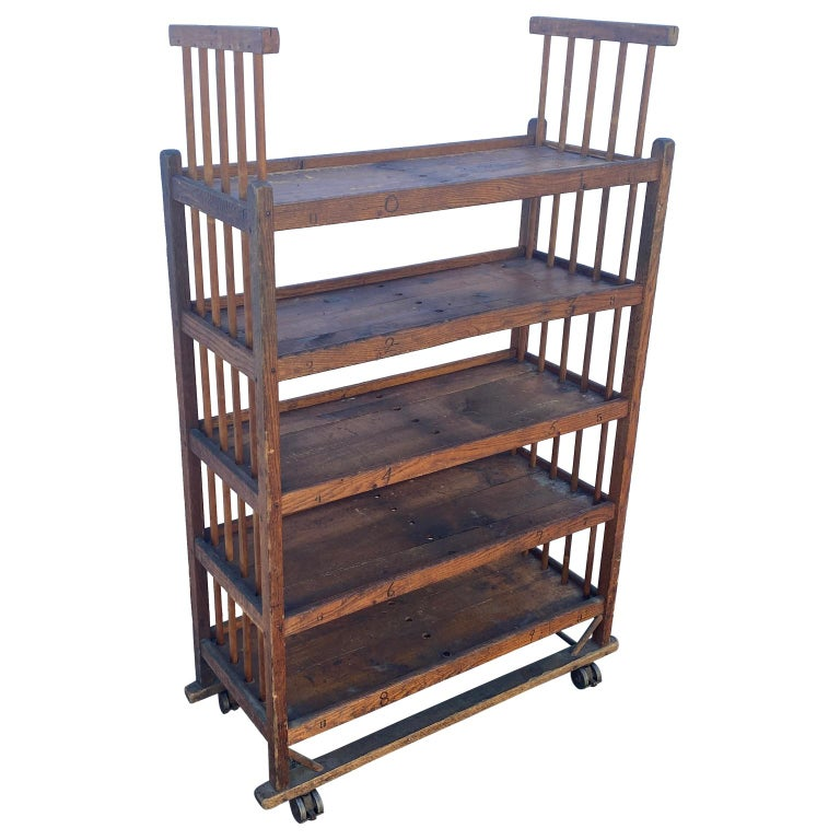 Industrial American 1930s Wooden Bread Rack Or Cart For Sale