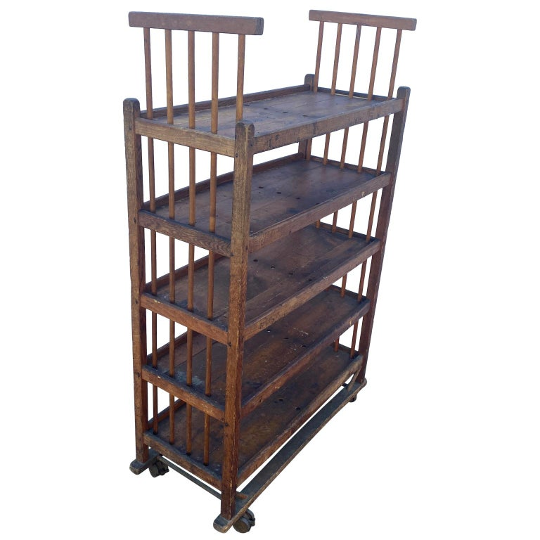 Iron American 1930s Wooden Bread Rack Or Cart For Sale