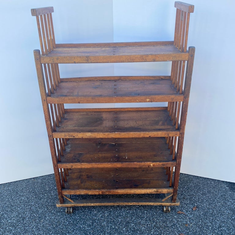 American 1930s Wooden Bread Rack Or Cart For Sale 1