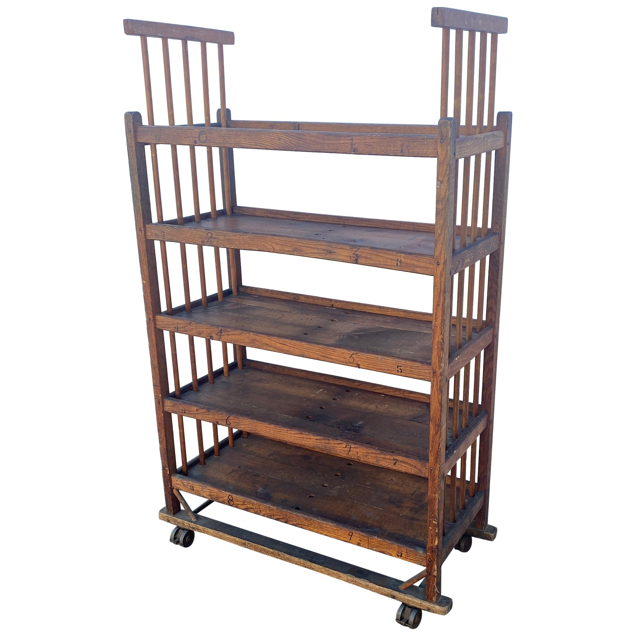 American 1930s Wooden Bread Rack Or Cart