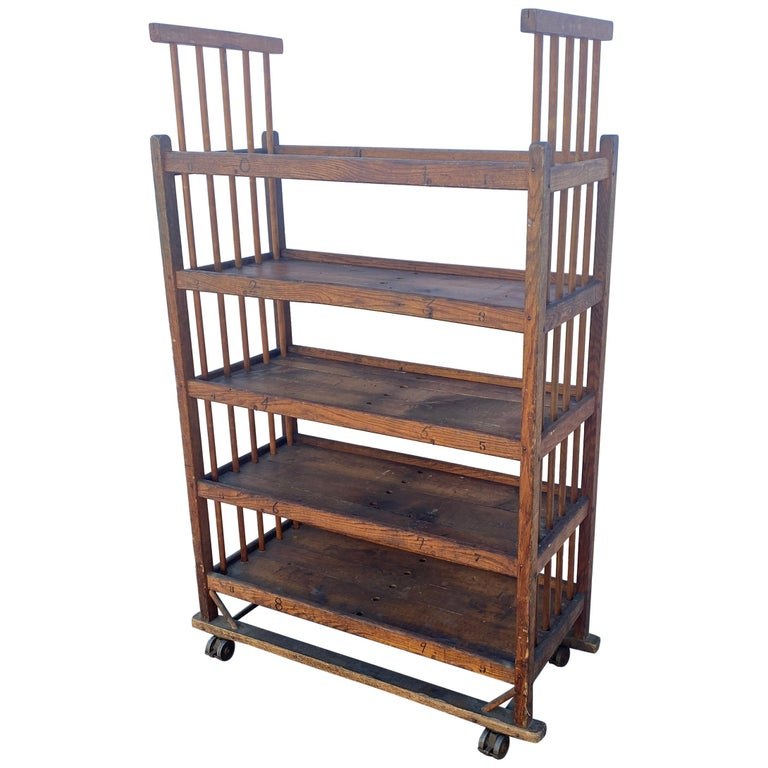 American 1930s Wooden Bread Rack Or Cart For Sale