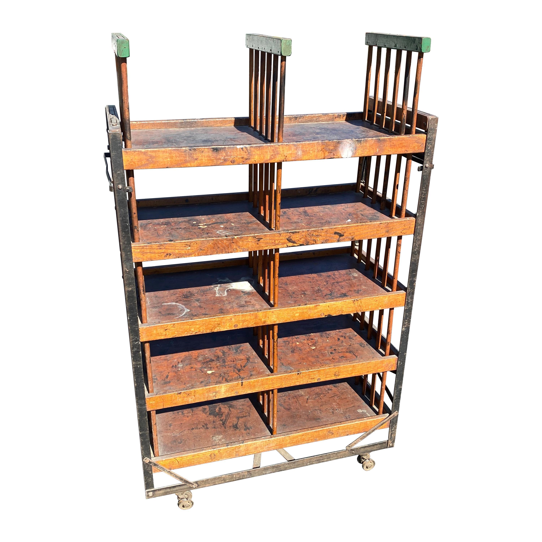 American 1930s Wooden Shelf, Cart or Bread Rack on Industrial Iron Wheels