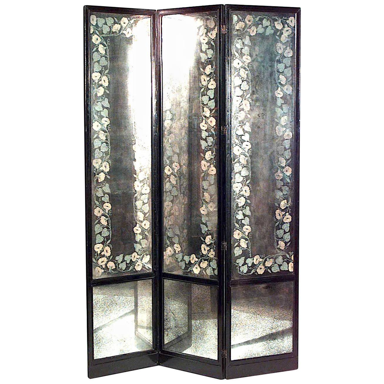 Mid-Century American Mirrored 3-Fold Screen with Lacquered Frame