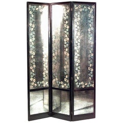 American 1940s Smoked Glass Three Fold Screen