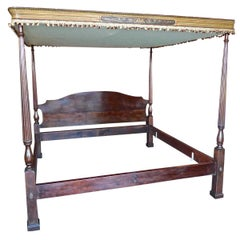 American 1940s Solid Mahogany 4 Poster Bed with Italian Hand Painted Canopy