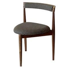 Danish 1960s Walnut Three-Legged Side Chair Upholstered with New Fabric