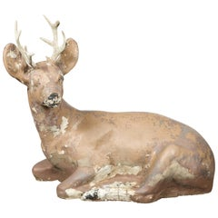 American 1950s Concrete Reclining Deer with Antlers and Weathered Appearance
