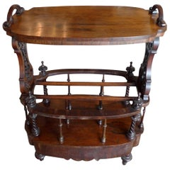 American 1950s Stained Walnut Bar Trolley on Four Porcelain Castors