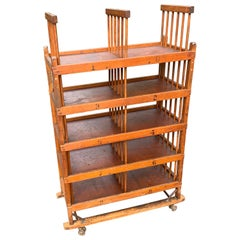 American 1960s Wooden Shelf, Cart or Bread Rack on Industrial Iron Wheels