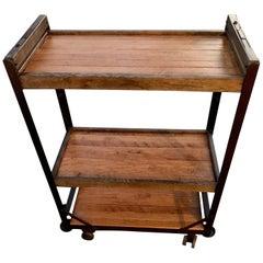 American 1960s Wooden Shelf, Cart or Bread Rack on Industrial Iron Wheels