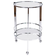 American 1970s Chrome Circular Drinks/ Serving Trolley