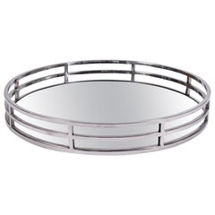 American 1970s Extra Large Chrome and Mirror Tray in the Style of Willy Rizzo