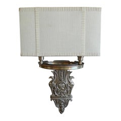 American 1970s Two-Light Wall Sconce With Fabric Shade