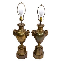 American 1972 Chapman Iconic, Art Deco Rams Head Bronze Urn Table Lamp, Pair