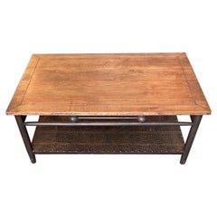 American 1980s Style Stained Coffee Table with Leather Covered Shelf