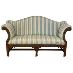 American Carved Mahogany and Upholstered Chippendale Style Settee