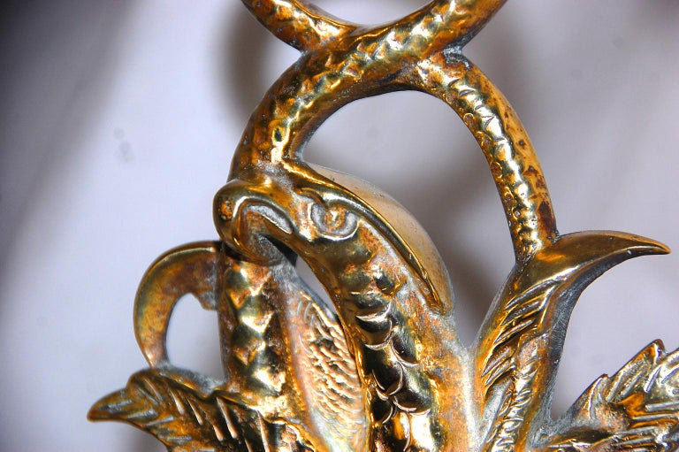 American 19th Century Cast Brass Eagle and Serpent Doorstop In Good Condition For Sale In Wells, ME