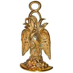 American 19th Century Cast Brass Eagle and Serpent Doorstop