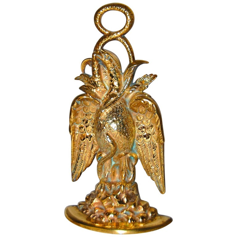 American 19th Century Cast Brass Eagle and Serpent Doorstop For Sale
