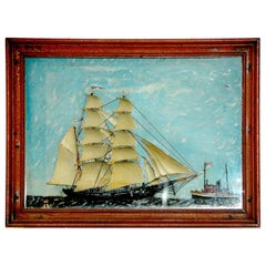 American 19th Century Diorama of a Barquentine and Tug boat on the Sea
