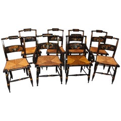 American 19th Century Hitchcock Chairs, Set of 8 Including Two Arms, Six Sides