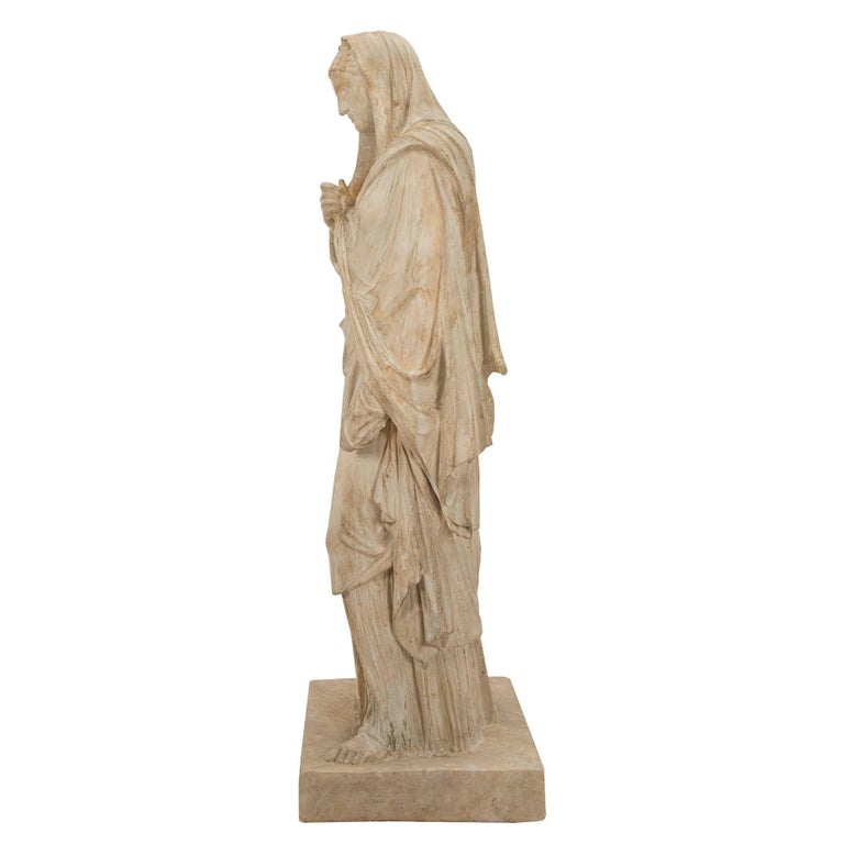 American 19th Century Plaster Statue of a Classical Maiden For Sale 1