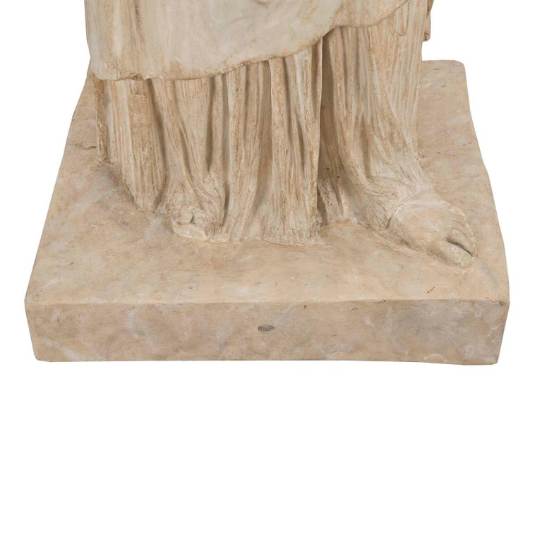 American 19th Century Plaster Statue of a Classical Maiden For Sale 3