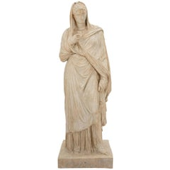 American 19th Century Plaster Statue of a Classical Maiden