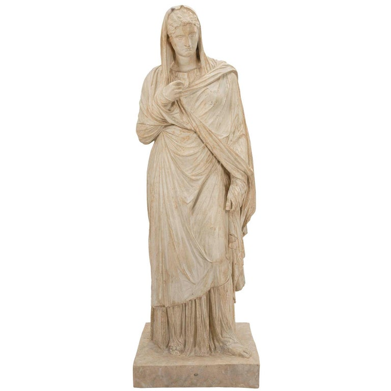 American 19th Century Plaster Statue of a Classical Maiden For Sale