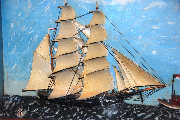 Folk Art American 19th Century Ship Diorama of a Barkentine and Tugboat Wood and Plaster For Sale
