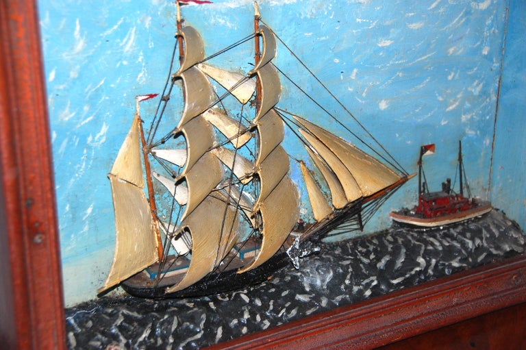 American 19th Century Ship Diorama of a Barkentine and Tugboat Wood and Plaster In Good Condition For Sale In Wells, ME