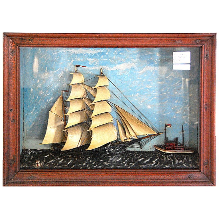 American 19th Century Ship Diorama of a Barkentine and Tugboat Wood and Plaster For Sale