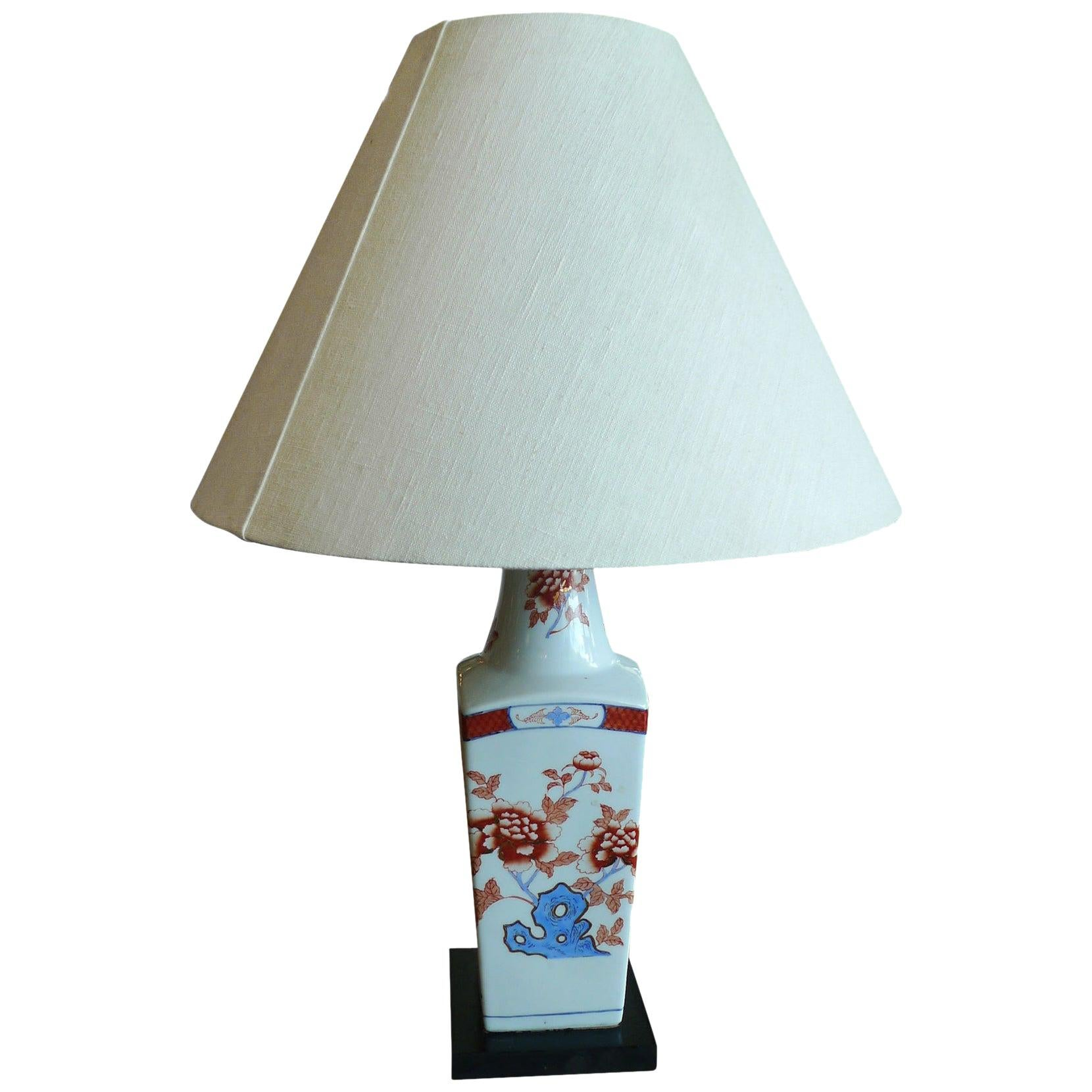 American 20th Century Porcelain Painted Vase Adapted into a Table Lamp