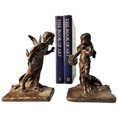 American Aestheticism, Griffoul Foundry Sculptural Bronze Bookends, Early XX C.
