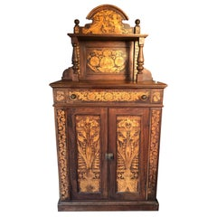 "American 19th Century Handcrafted ""CHERUBS"" Aesthetic Walnut Serving Cabinet"