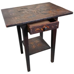 Antique Arts & Crafts End Table Unique Native American Good Luck, 1910