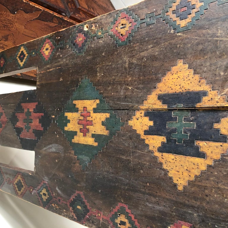 Hand-Crafted American Antique Hand-Incised & Painted Wood Bench, Unique Native American, 1910 For Sale