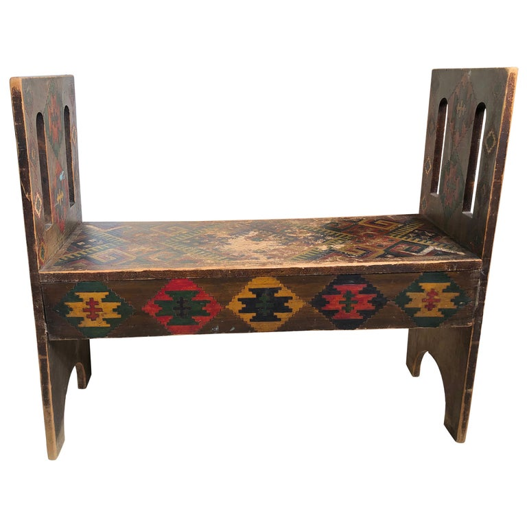 American Antique Hand-Incised & Painted Wood Bench, Unique Native American, 1910 For Sale