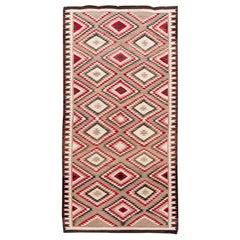 American Antique Navajo Geometric Folk Navajo Flat-Weave Wool Rug