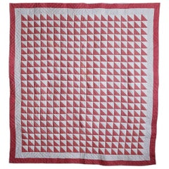 "American Antique Patchwork Quilt ""Birds in Flight"" in Dark Pink and White, 1880s"