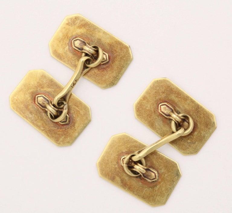 Men's American Art Deco 14 Karat Yellow Gold and Guilloche Enamel Cufflinks For Sale