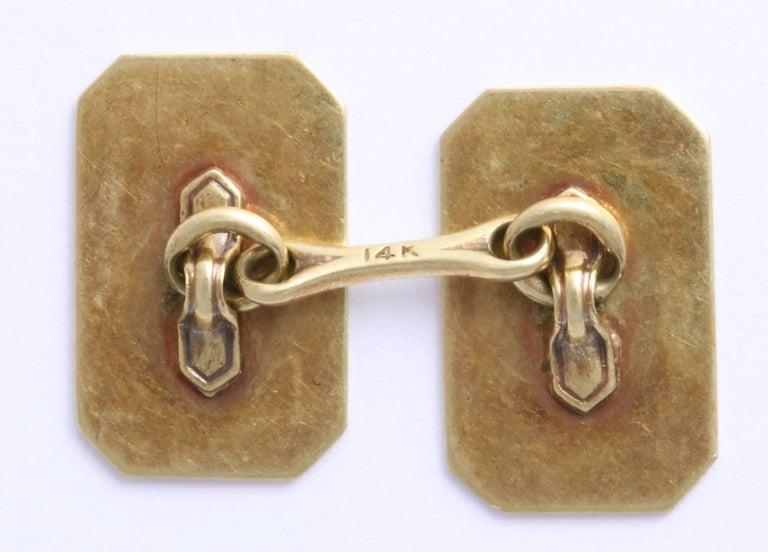 American Art Deco 14 Karat Yellow Gold and Guilloche Enamel Cufflinks For Sale 1