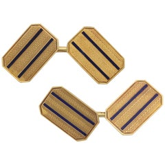 American Art Deco 14 Karat Yellow Gold and Guilloche Enamel Cufflinks