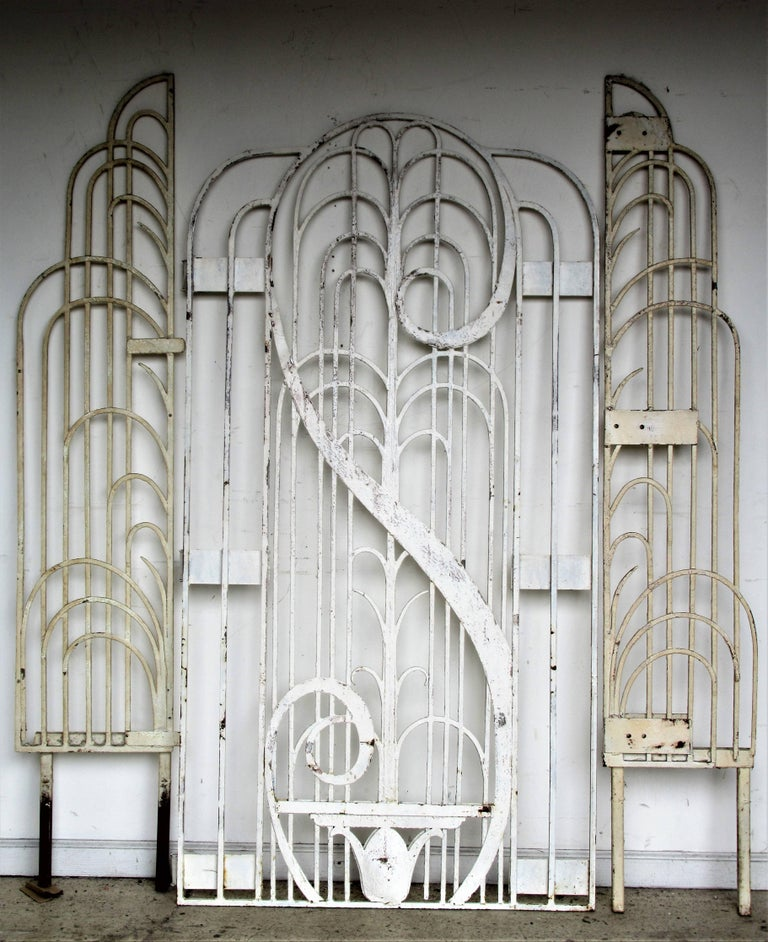 Art Deco Ornamental Ironwork: American Art Deco Architectural Hand Wrought Iron Gates At