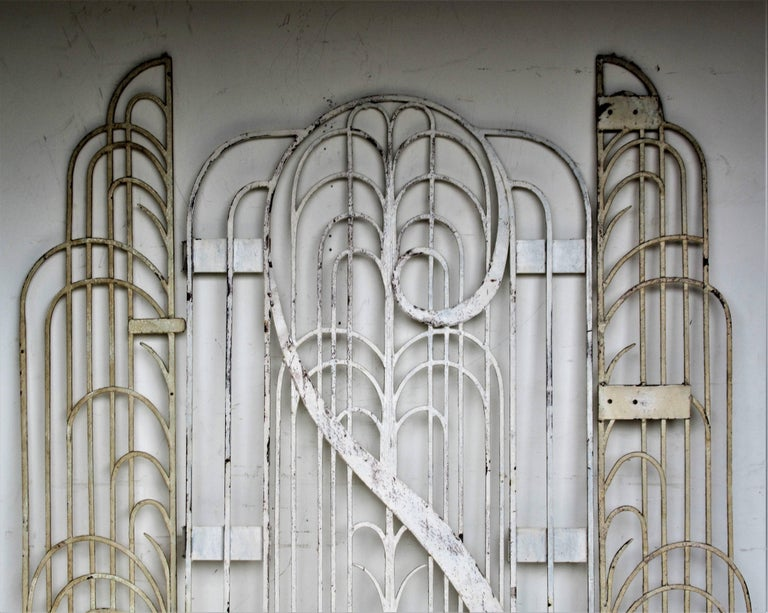 American Art Deco Architectural Hand Wrought Iron Gates At