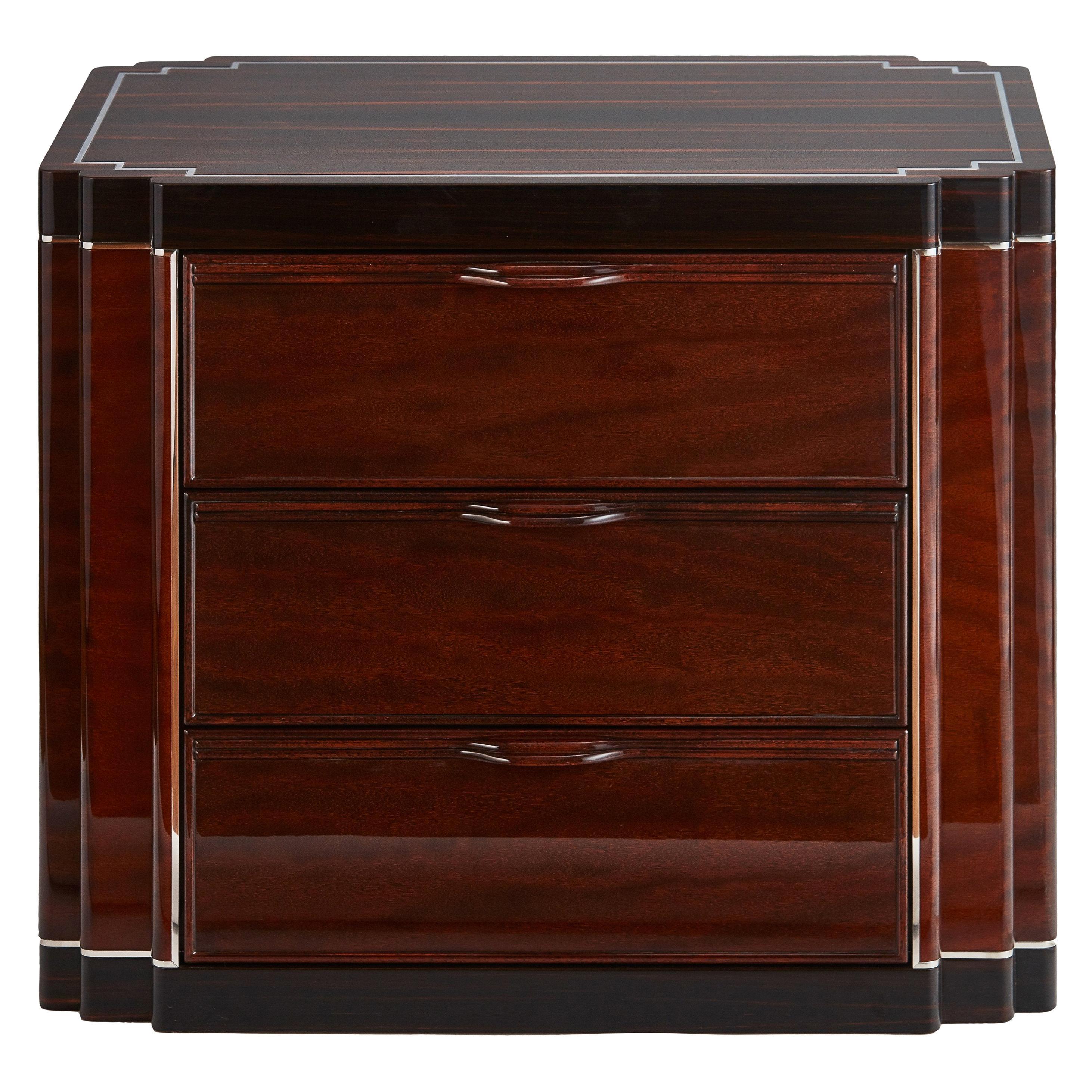 American Art Deco Bedside Cabinet in Two-Tone Exotic Wood Veneer