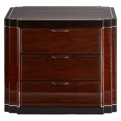 American Art Deco Bedside Cabinet in Two-Tone Exotic Wood Veneer